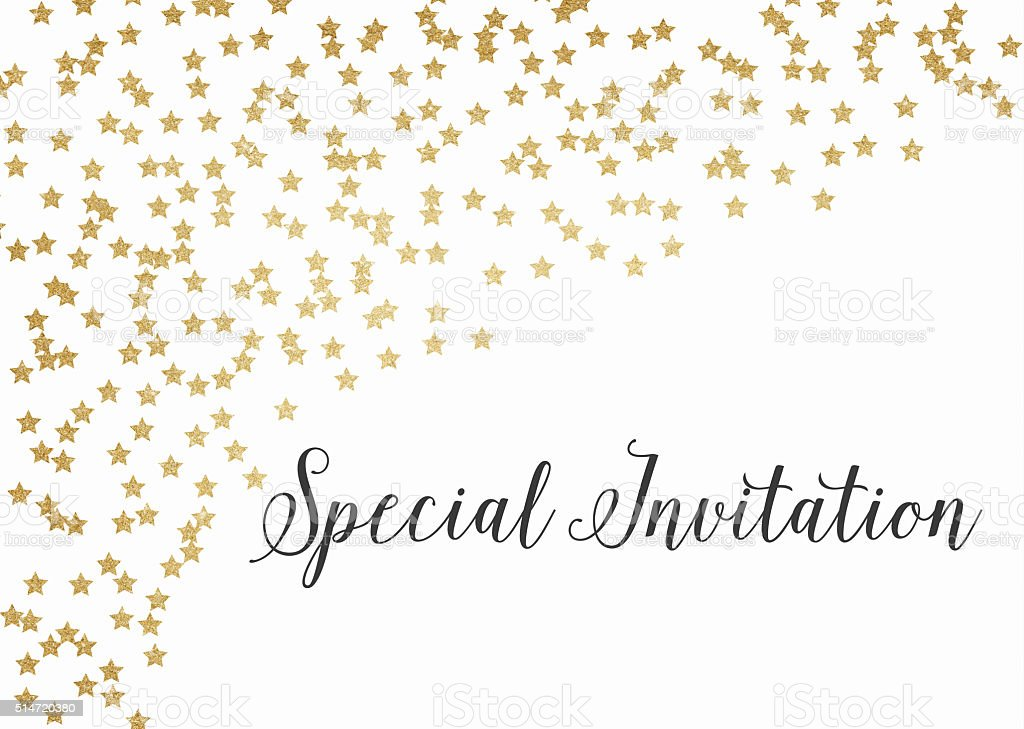 Gold glitter special invitation background vector art illustration