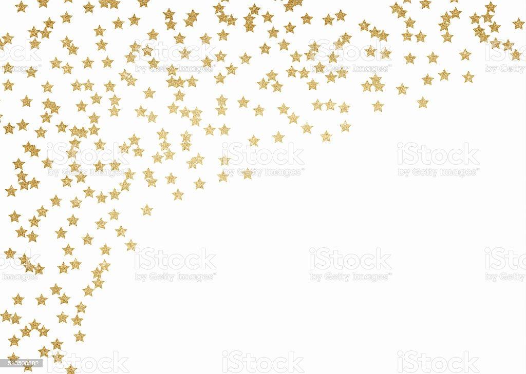 Gold glitter stars background vector art illustration