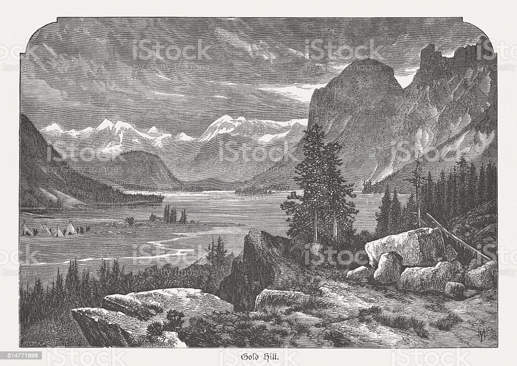 Gold Hill, Colorado, USA, wood engraving, published in 1880 vector art illustration