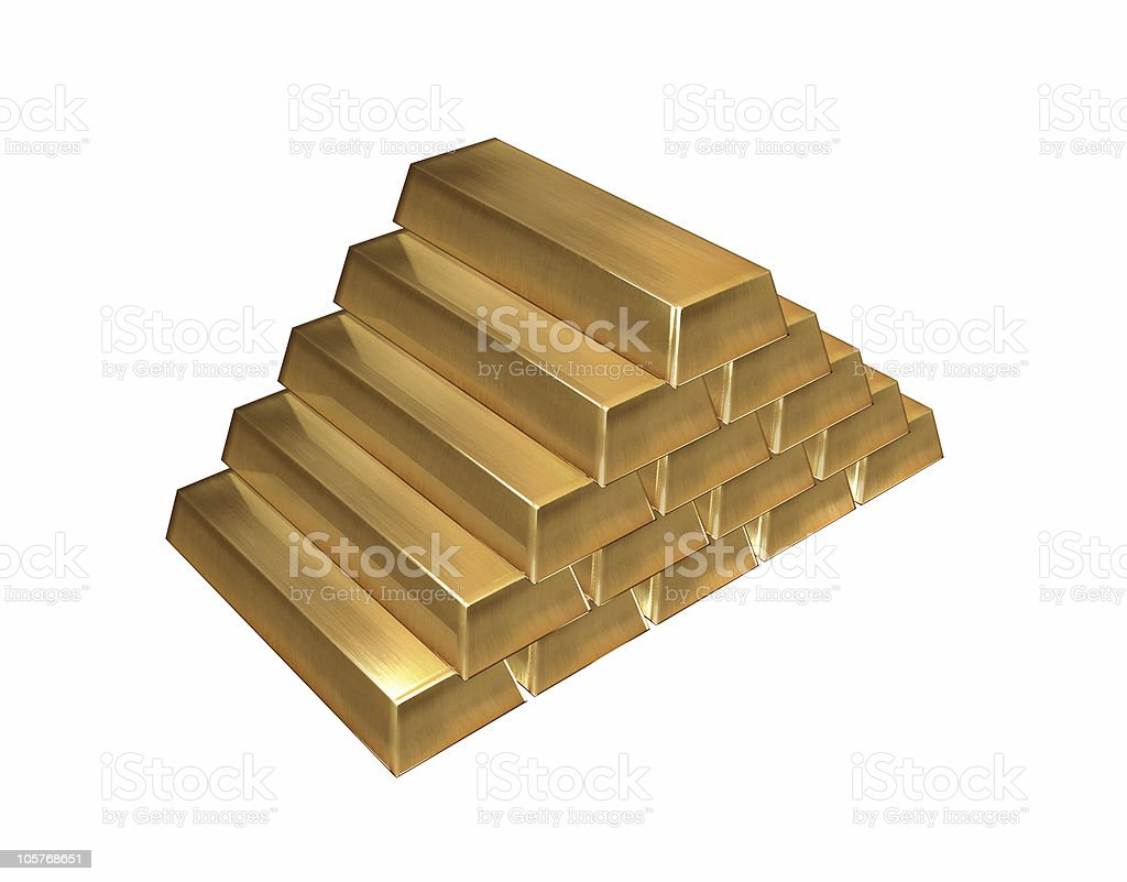 Gold ingots isolated vector art illustration