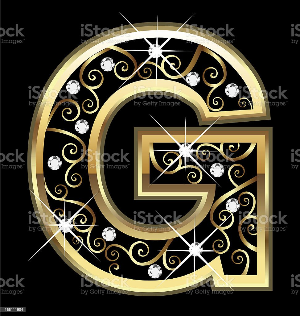 Gold letter g with swirly ornaments stock vector art for Letter g decoration