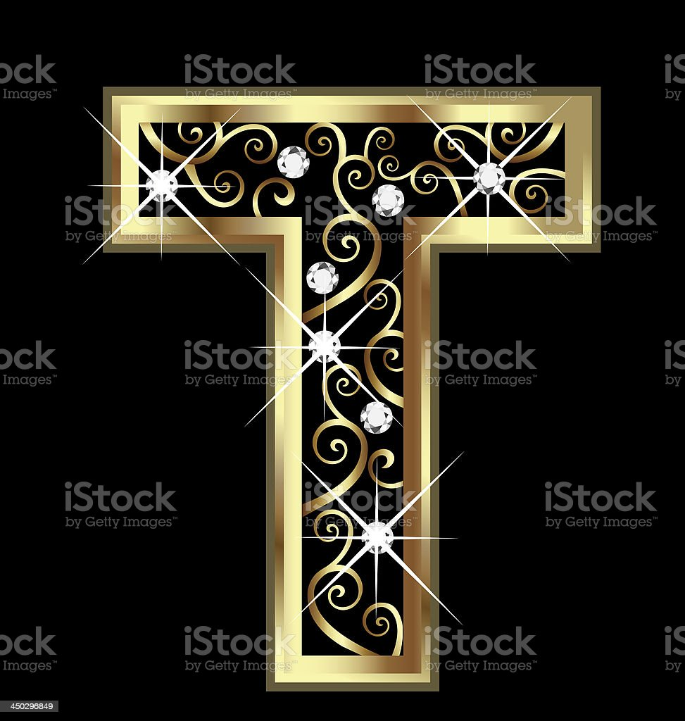 Gold letter T with swirly ornaments royalty-free stock vector art