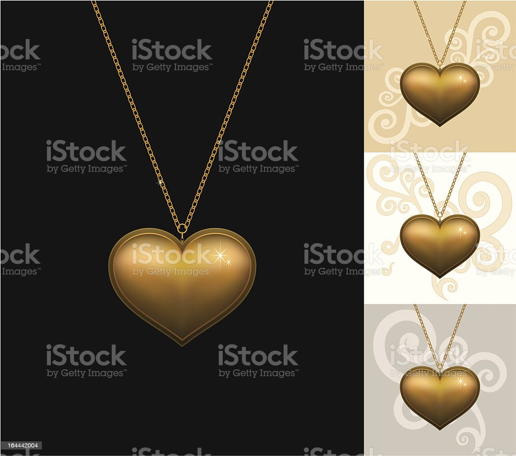 Gold locket royalty-free stock vector art
