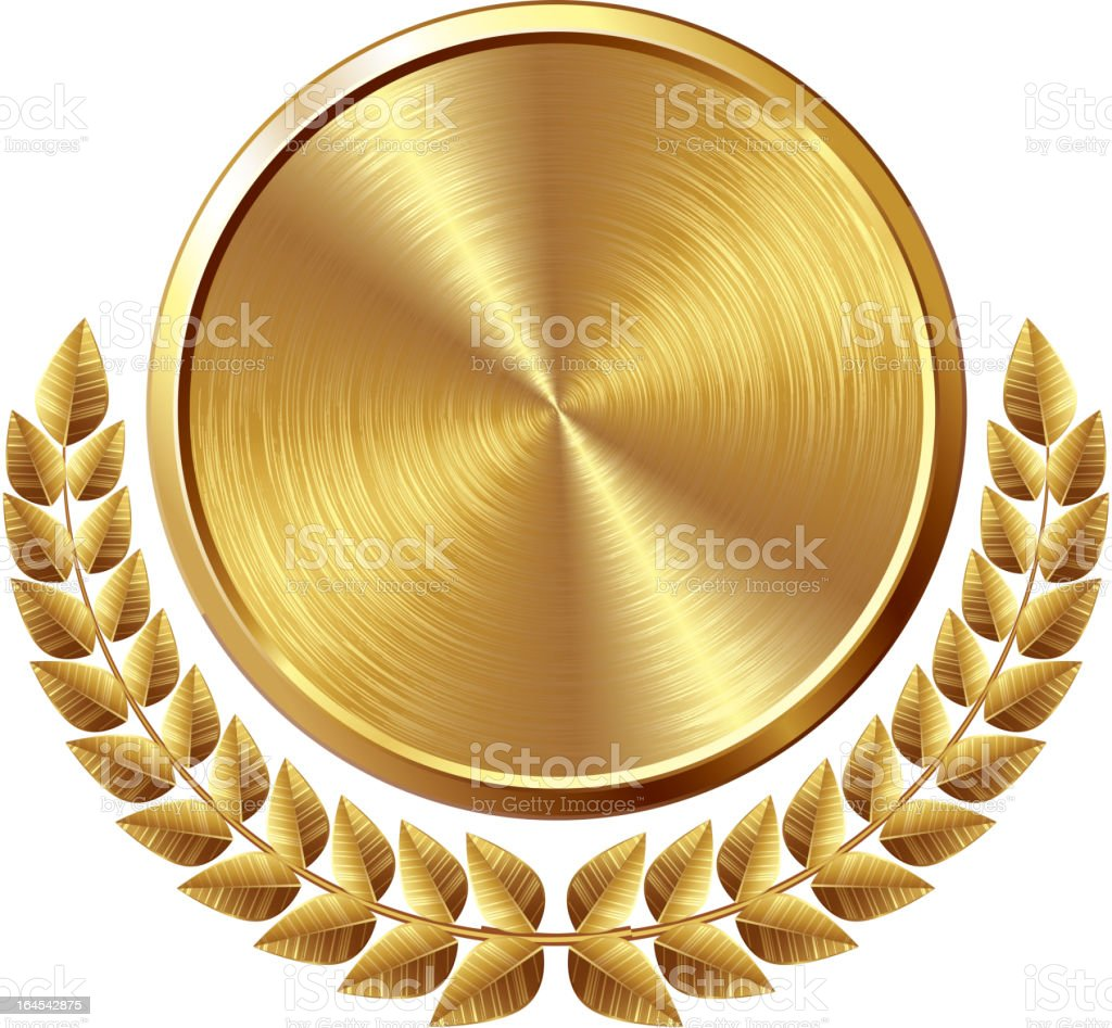 Gold medal vector art illustration