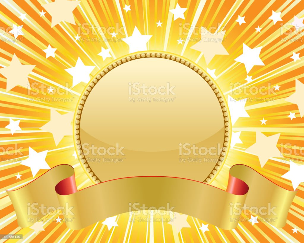 Gold medal with star burst royalty-free stock vector art