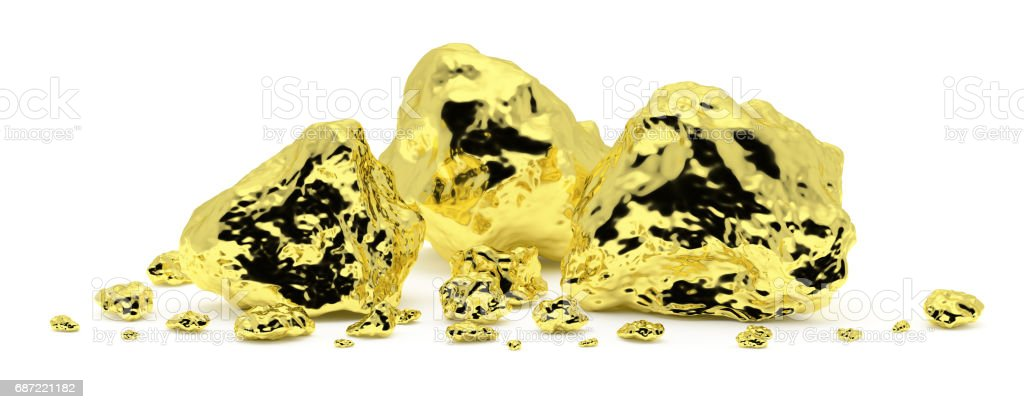 Gold nuggets isolated on white background vector art illustration
