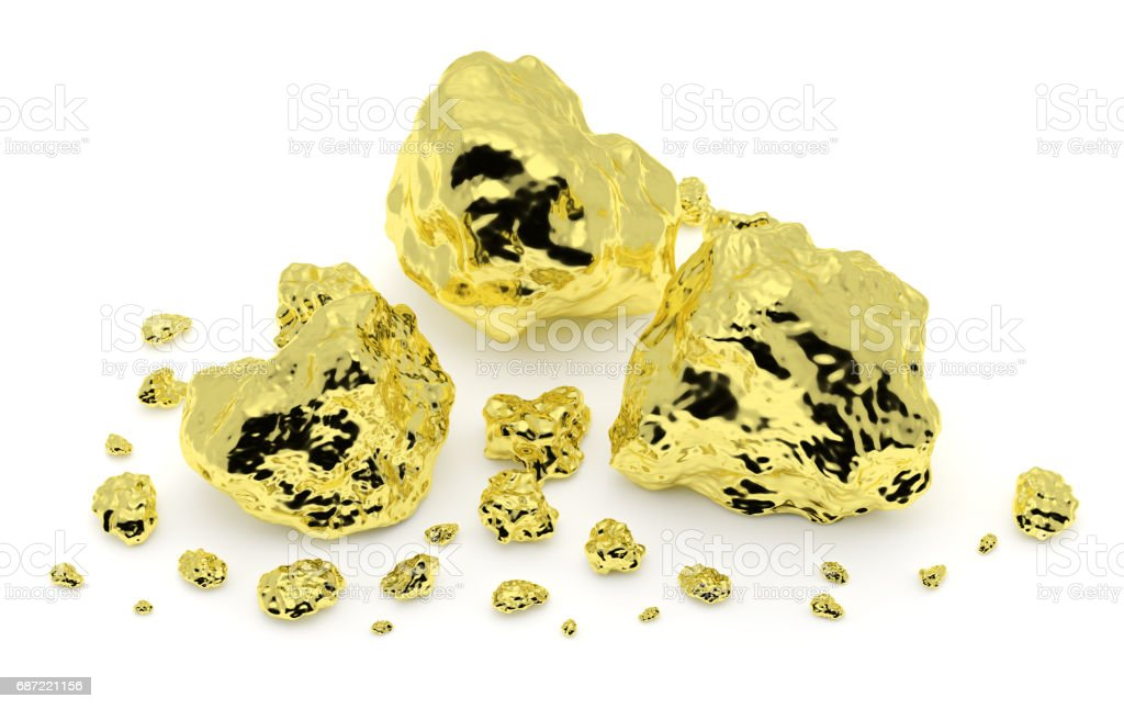 Gold nuggets isolated on white vector art illustration