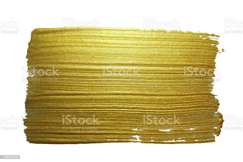 Gold paint brush stroke. vector art illustration