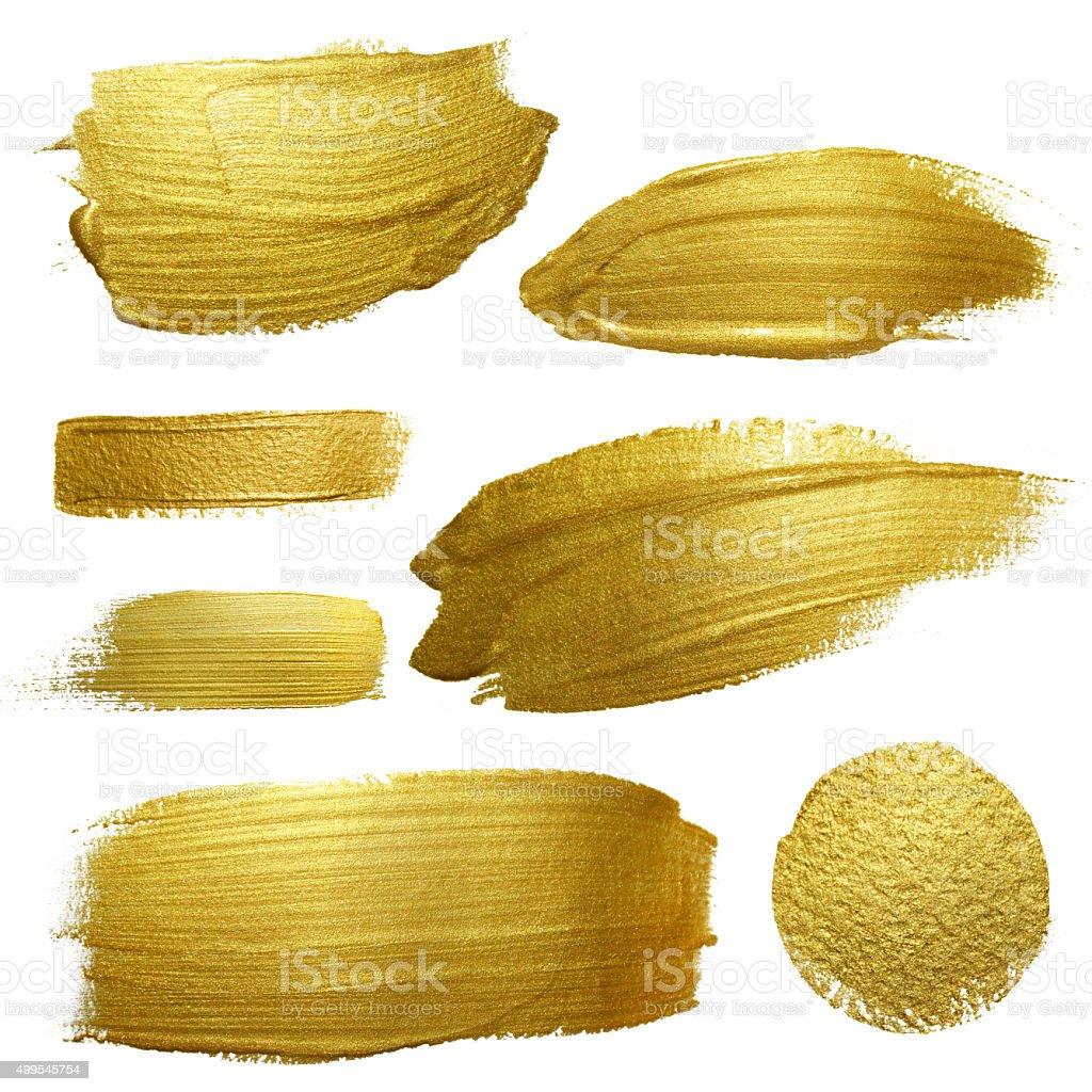 Gold paint smear stroke stain set. vector art illustration