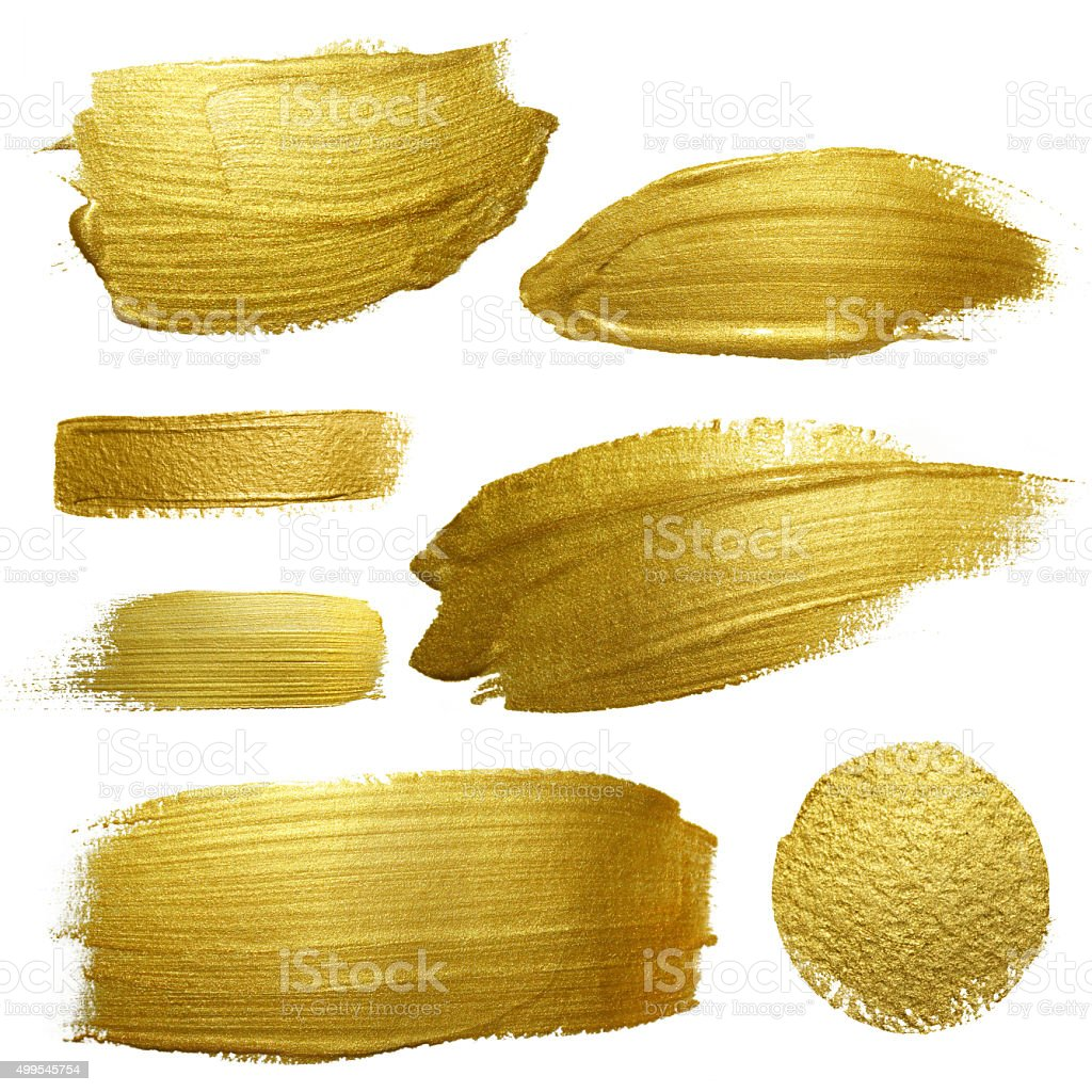 Gold paint smear stroke stain set. vector art illustration