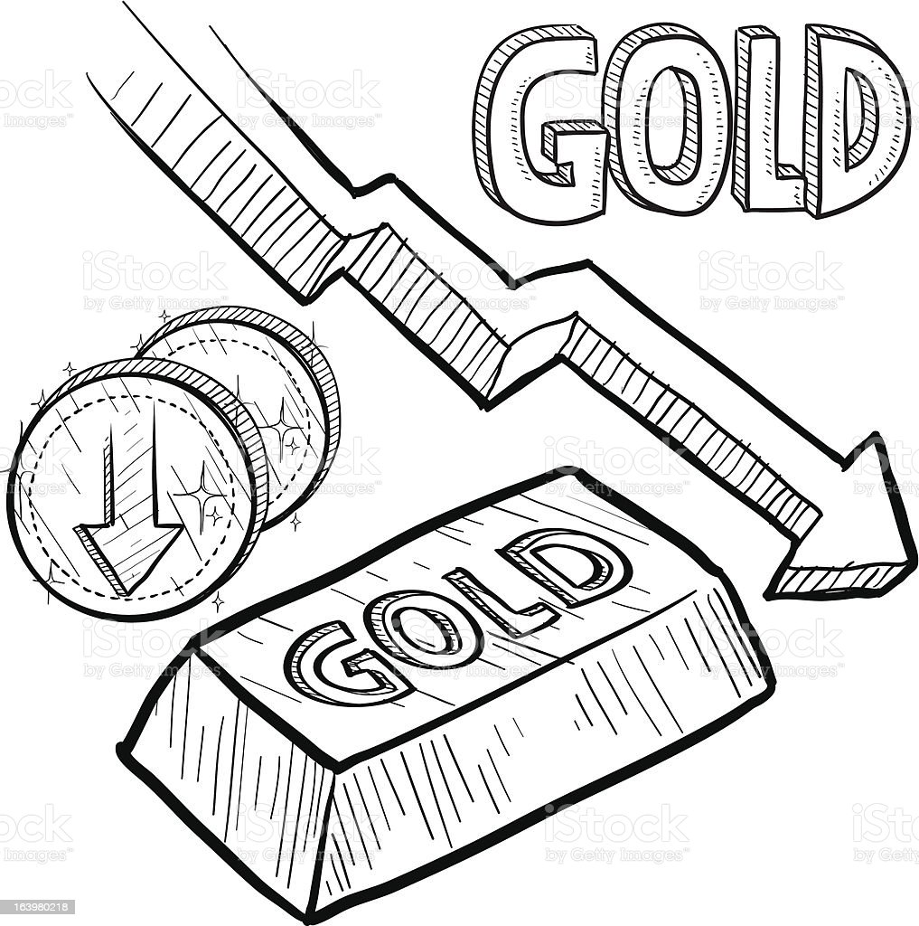 Gold price decreasing sketch vector art illustration