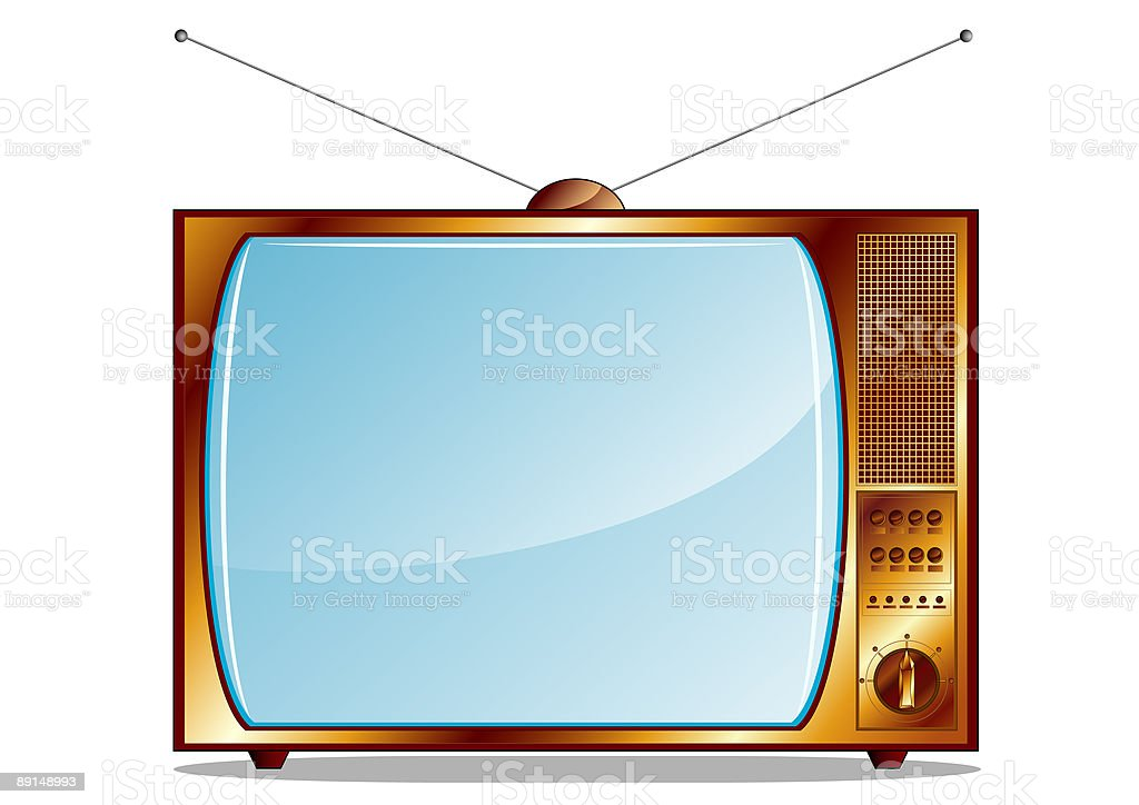Gold retro TV royalty-free stock vector art