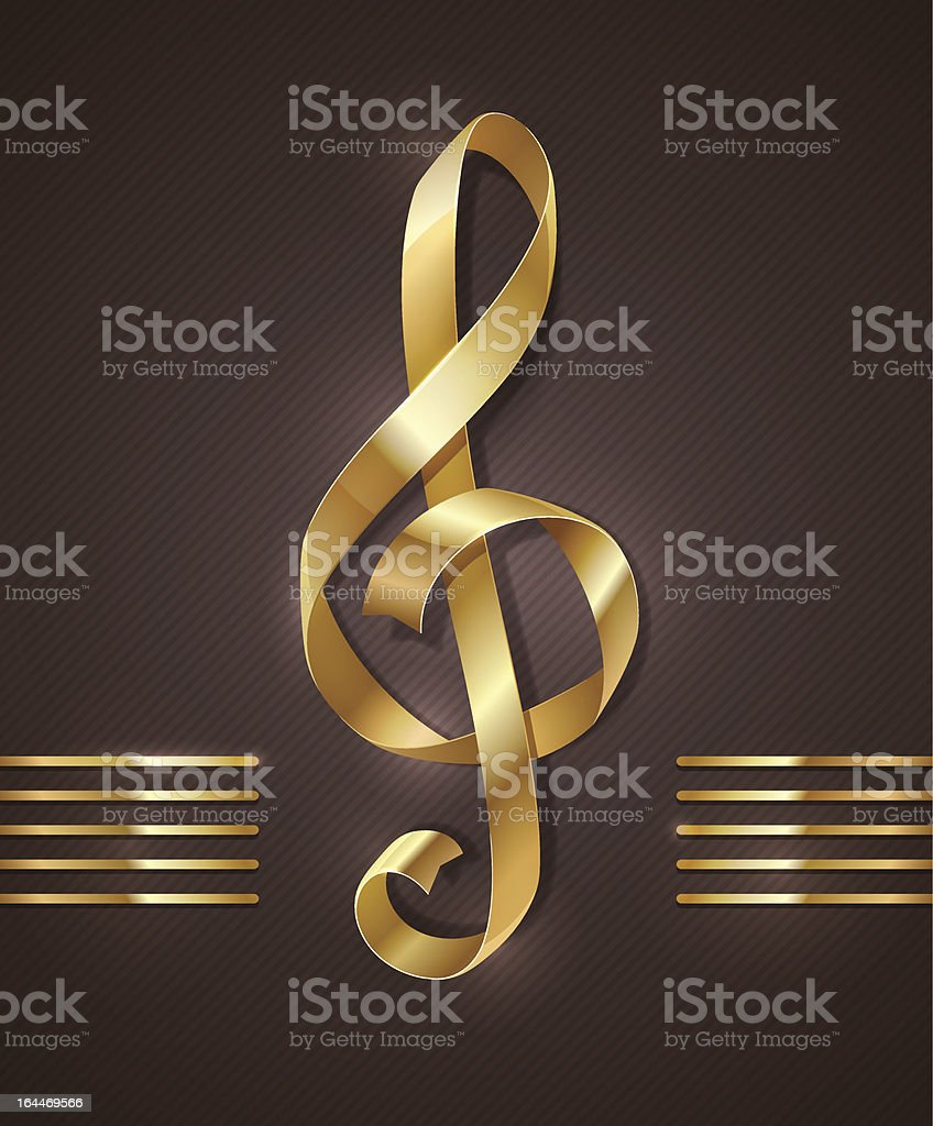 Gold ribbon in the shape of treble clef royalty-free stock vector art