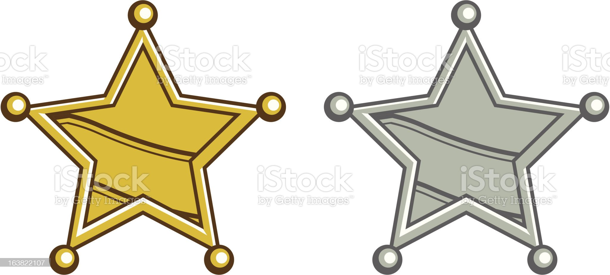 Gold Sheriff and silver deputy badges royalty-free stock vector art
