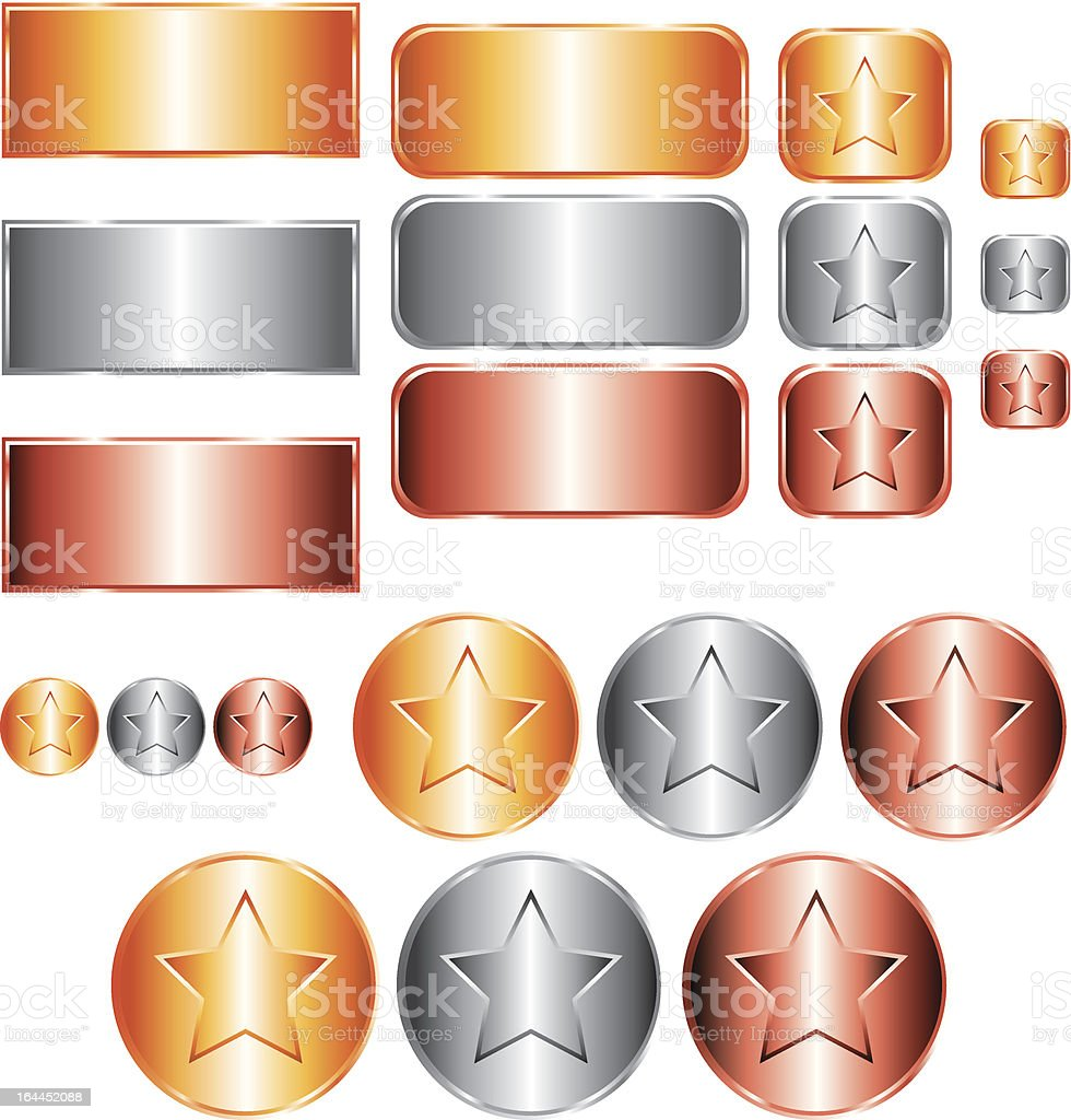 Gold, silver and bronze medals. royalty-free stock vector art