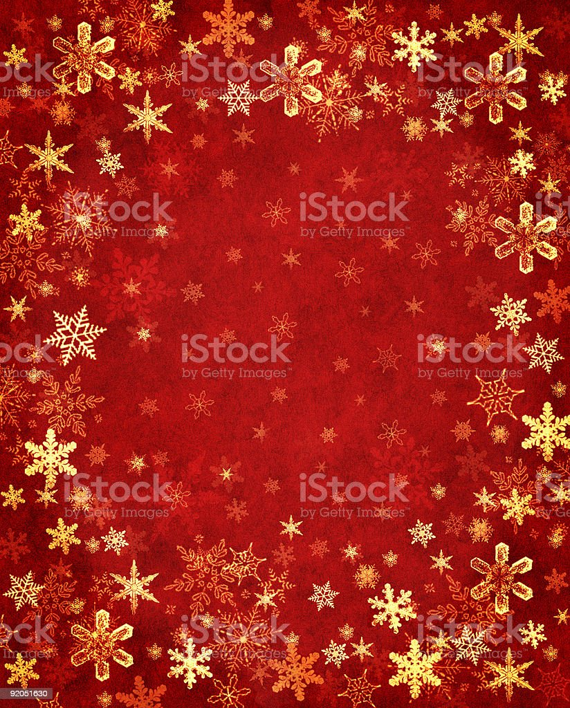 Gold Snowflakes on Red royalty-free stock vector art
