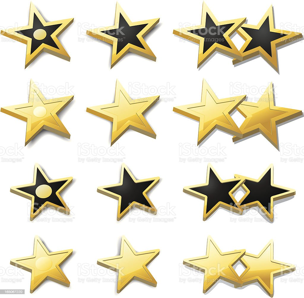 Gold Stars vector art illustration