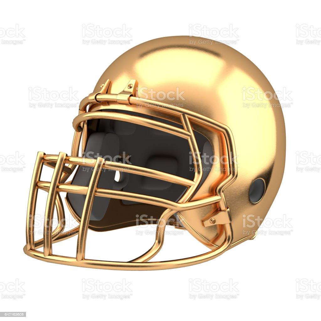 Golden American football helmet vector art illustration