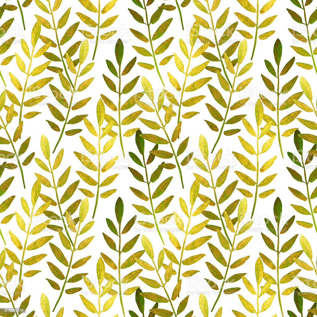 Golden and green hand-painted leaves on white background stock photo