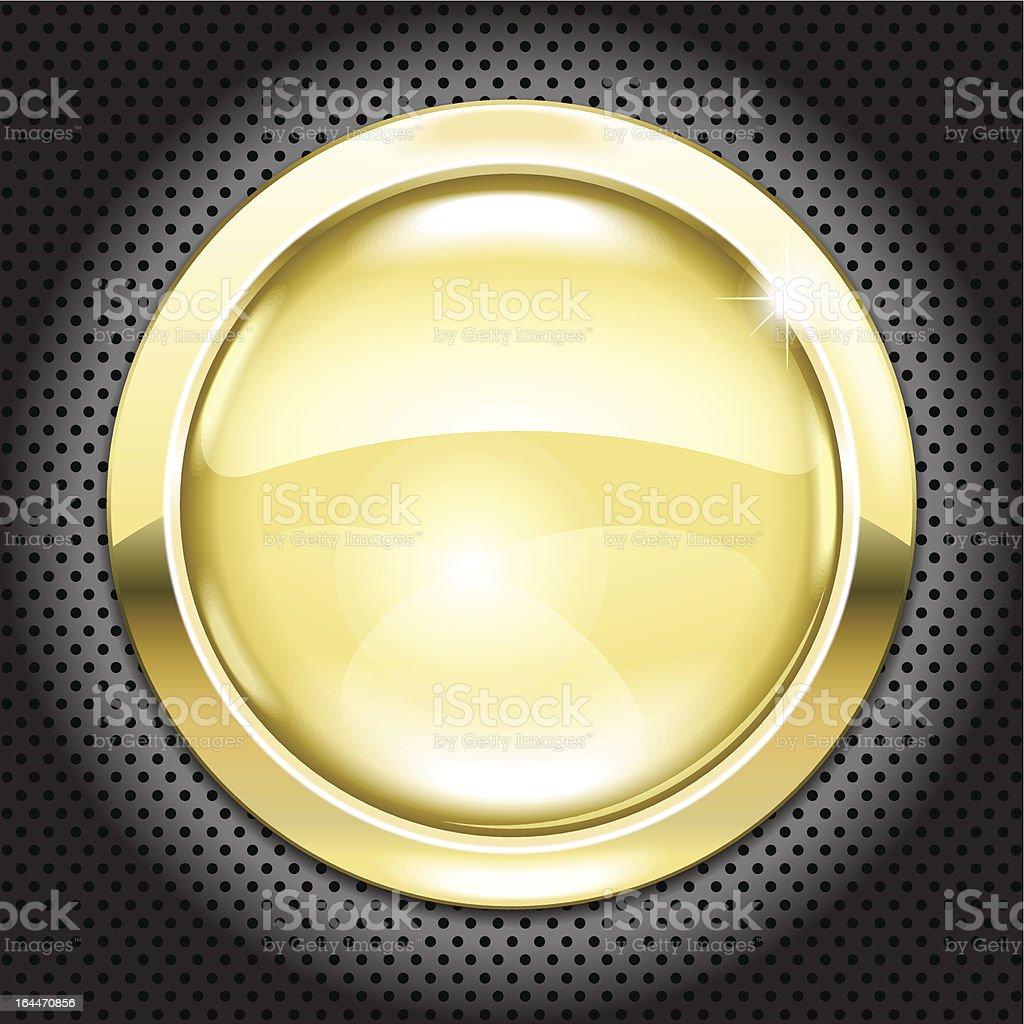 golden button vector art illustration