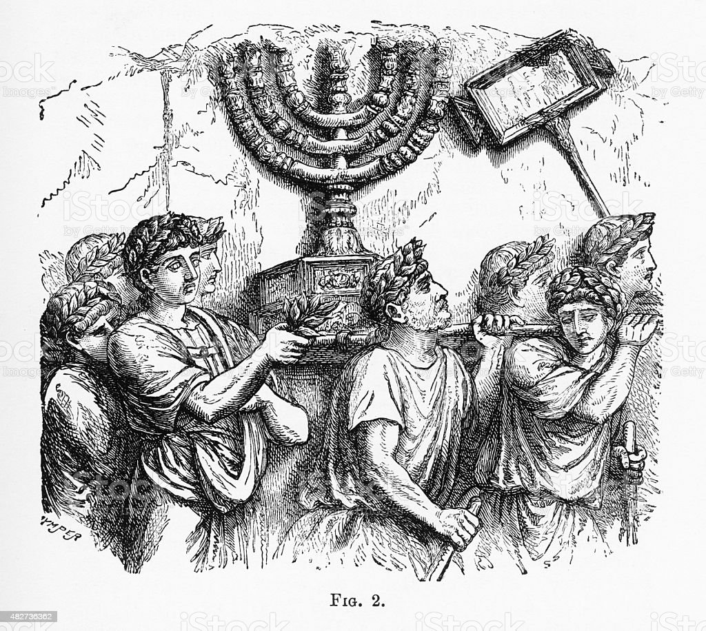 Golden Candlestick, menorah, of the Jewish Temple Christian Symbolism Engraving stock photo