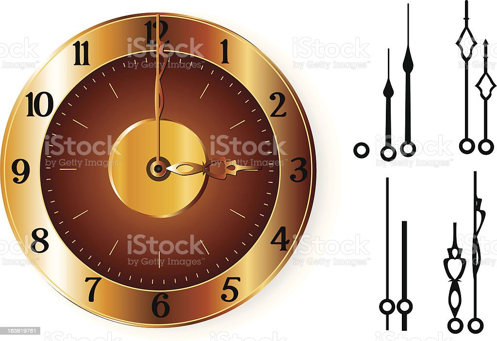 Golden Clock vector art illustration