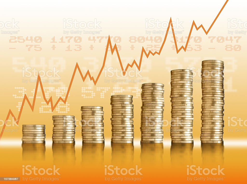 Golden coins with chart going up royalty-free stock vector art