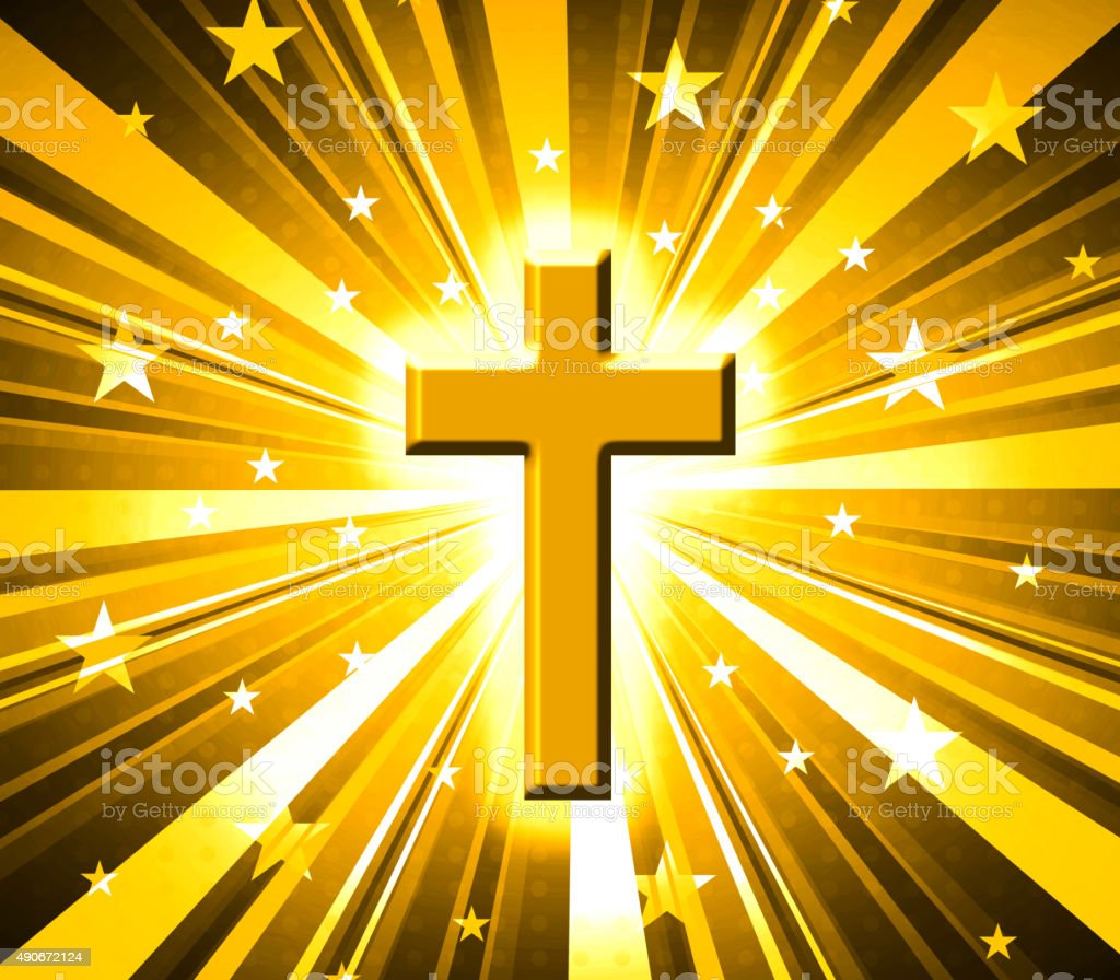 Golden cross on star burst vector art illustration