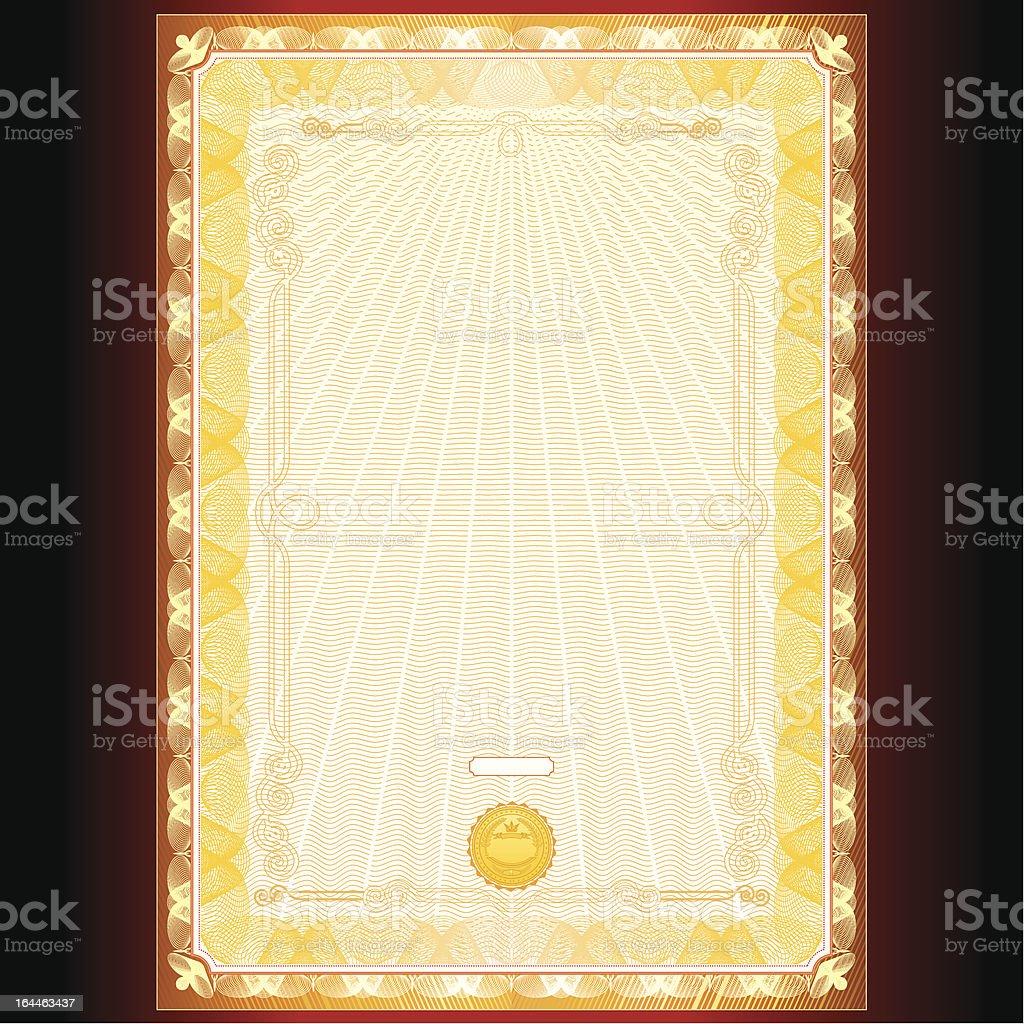 Golden Diploma or Certificate Design royalty-free stock vector art