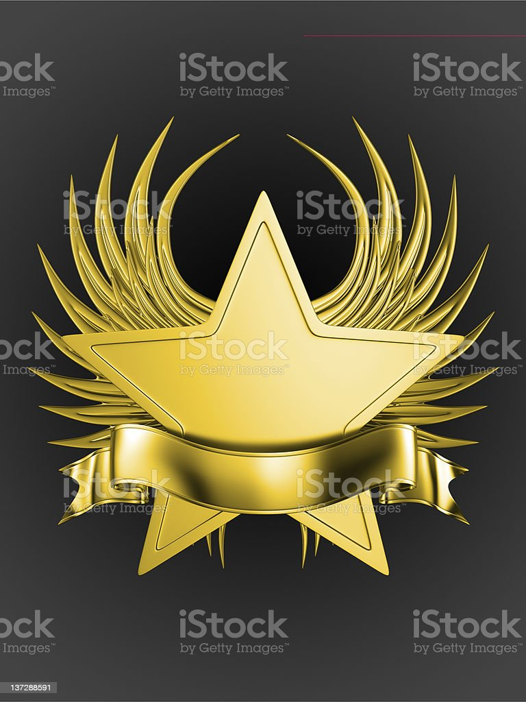 golden emblem with a ribbon on the dark gredient background vector art illustration