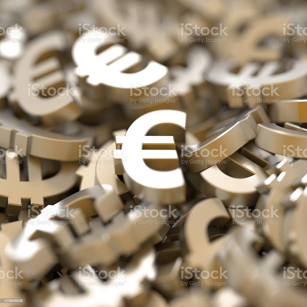 Golden Euros vector art illustration