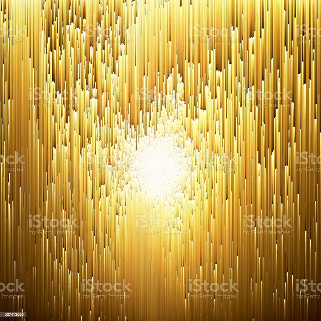 Golden Glow Digital Glitch Art Abstract Background vector art illustration