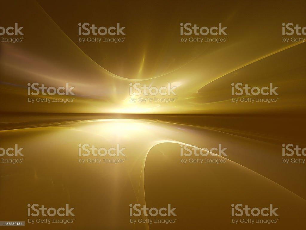 golden horizon vector art illustration