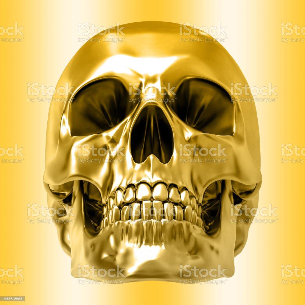 Golden human skull, isolated against the golden background vector art illustration