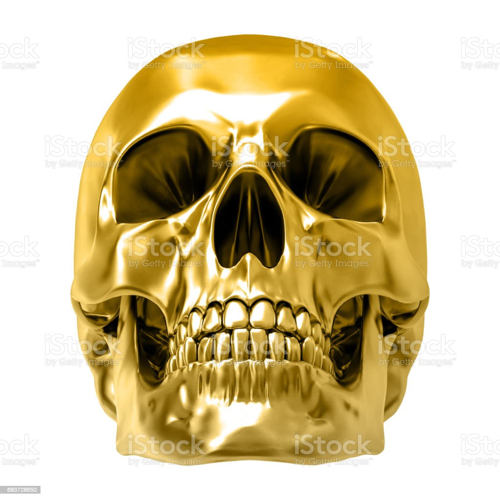 Golden human skull, isolated against the white background vector art illustration