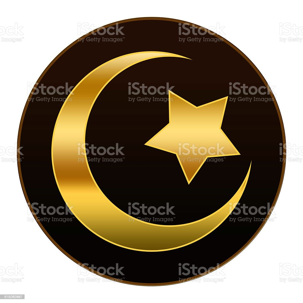 Golden  Islam Symbol in Dark Brown Background vector art illustration