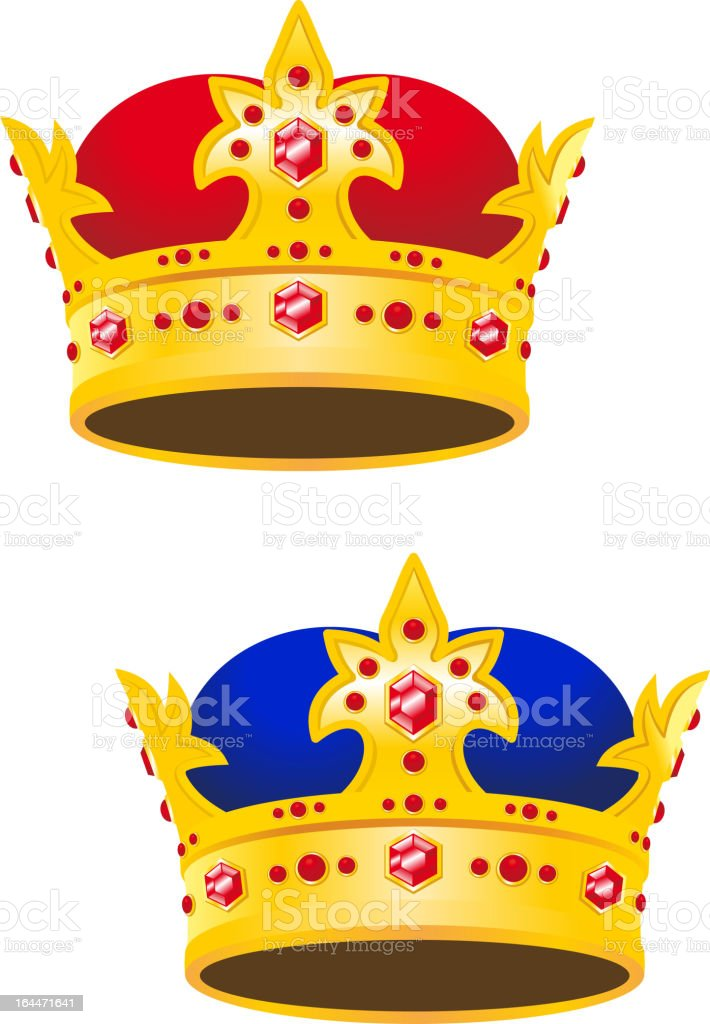 Golden king crown with gems vector art illustration