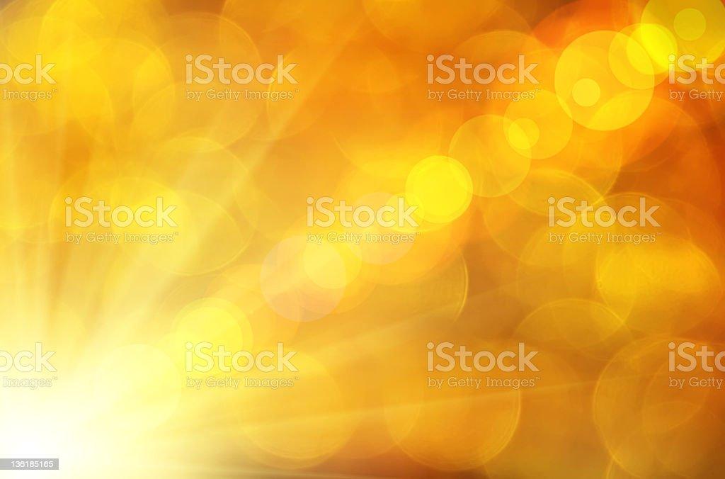 A golden light starting in the bottom left corner vector art illustration