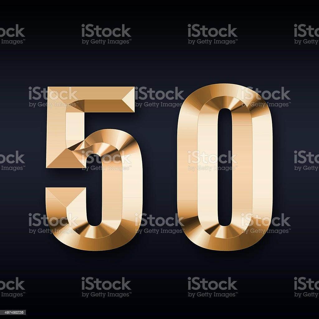 Golden number 50 vector art illustration