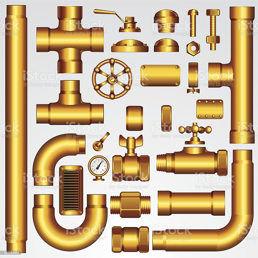 Golden Pipeline Elements. Vector Clip Art vector art illustration