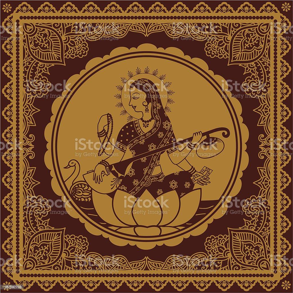 Golden Sarasvati vector art illustration
