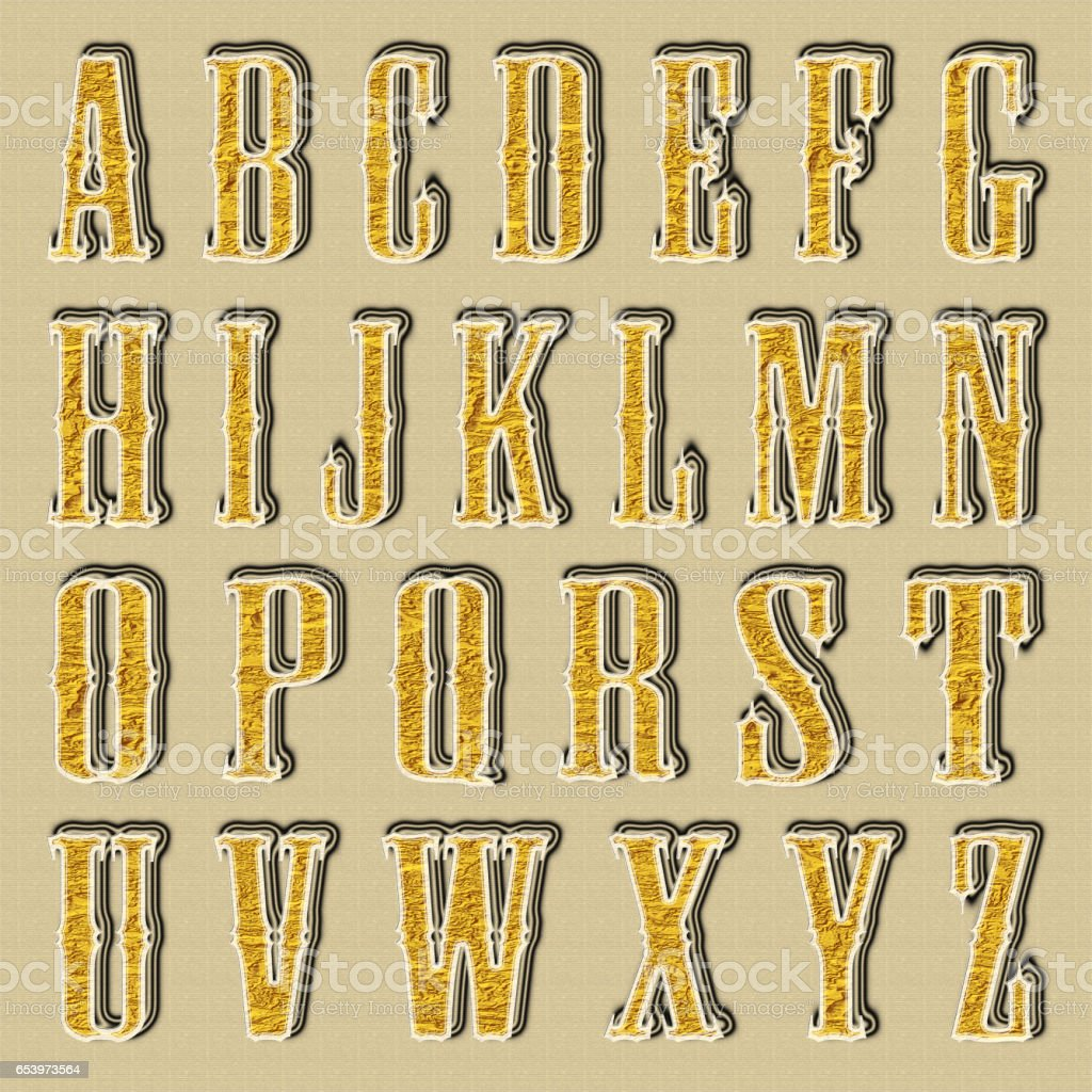 Golden shiny letters from A to Z vector art illustration