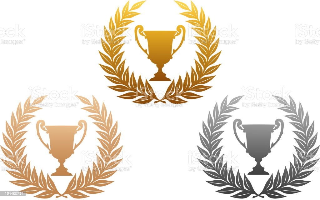 Golden, silver and bronze laurel wreaths with trophy royalty-free stock vector art