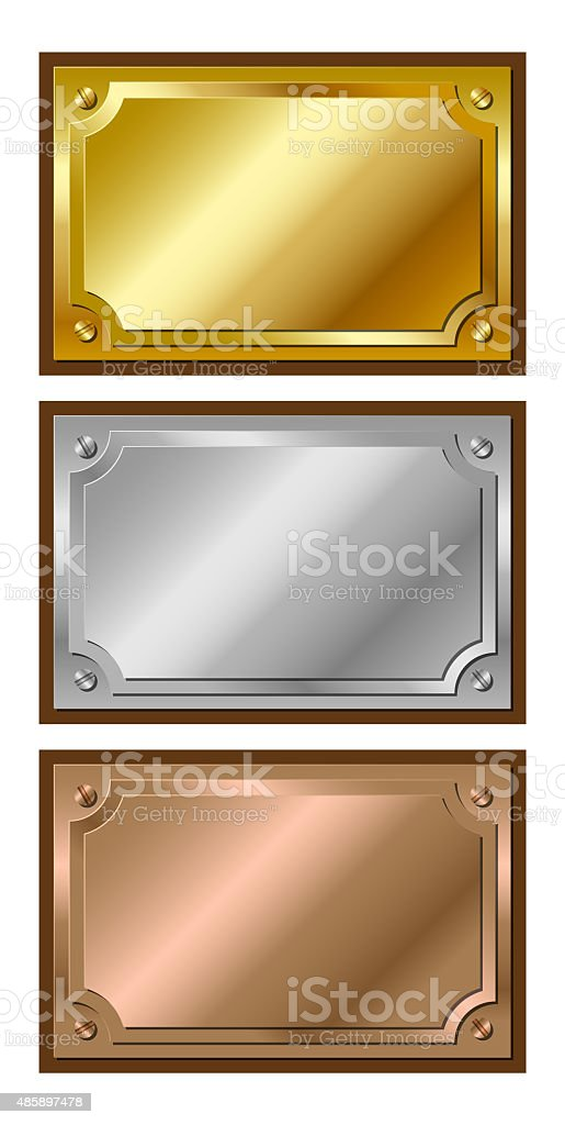 Golden, silver and bronze plaques vector art illustration
