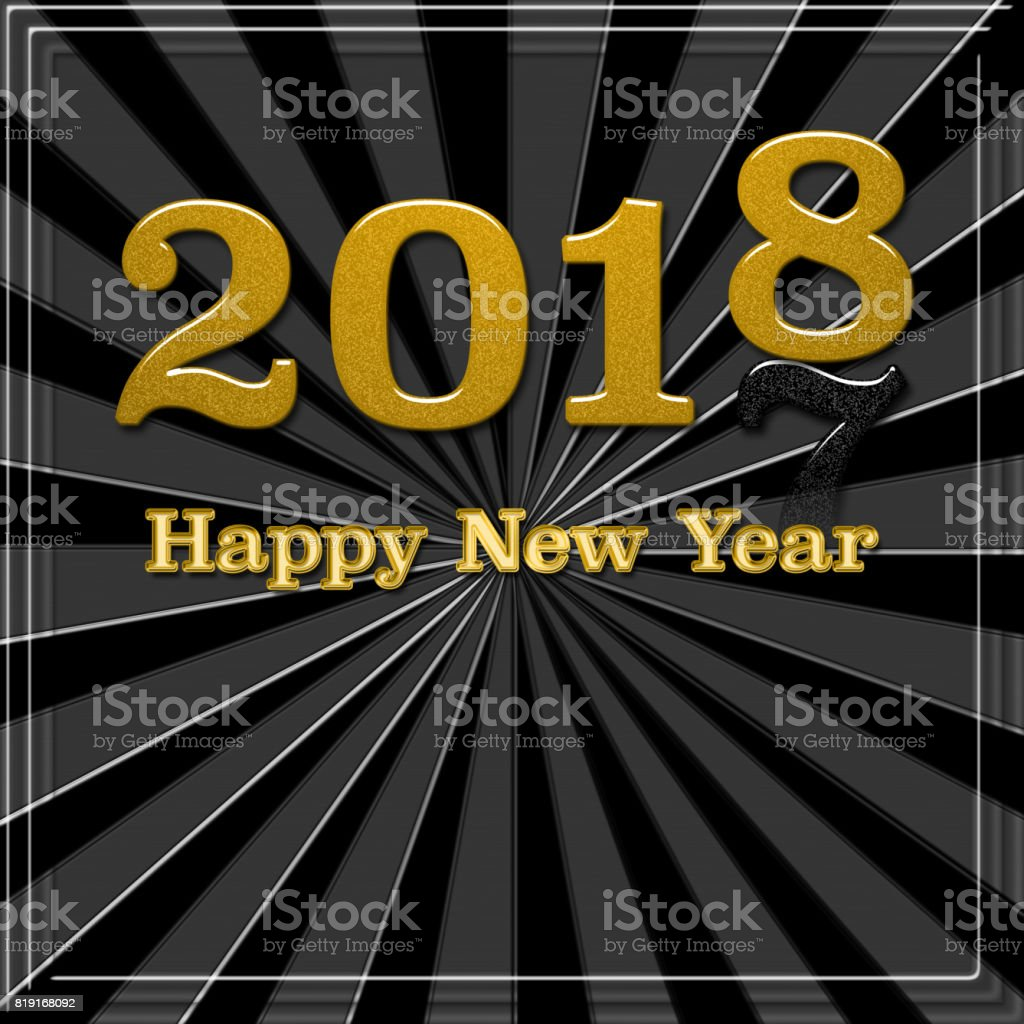 2018 Golden text on black background. Happy New Year lettering for invitation and greeting card, prints and posters. Calligraphic design. vector art illustration