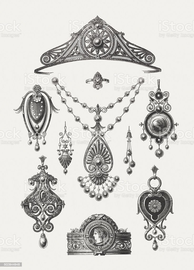 Goldworks, 19th century, published in 1875 vector art illustration