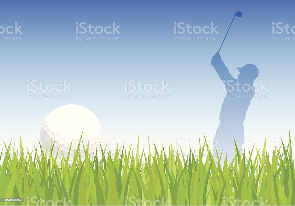 Golf ball and golfer background vector art illustration
