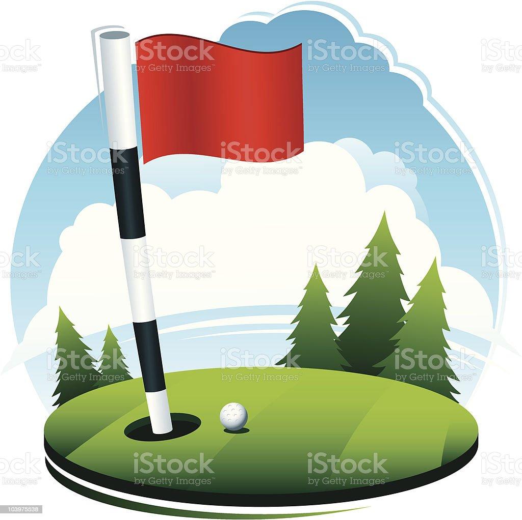 Golf Ball at Hole Scene vector art illustration