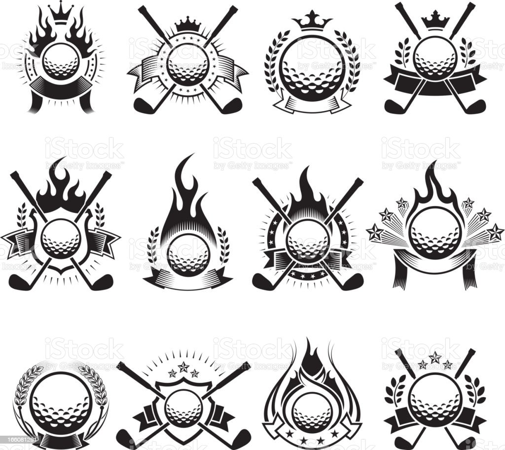Golf Ball Badges black and white royalty-free vector icon set vector art illustration
