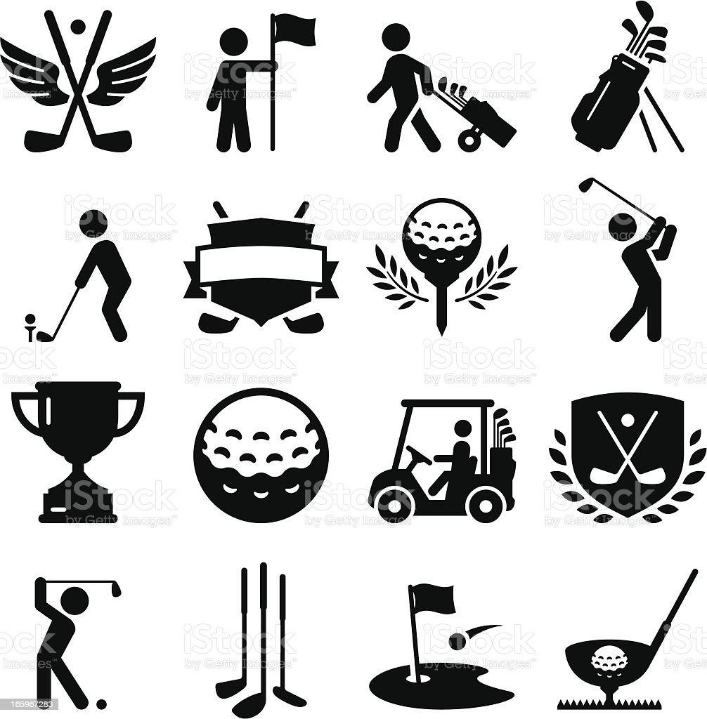 Golf Icons - Black Series vector art illustration